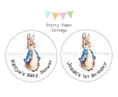 Peter Rabbit Stickers-Bunny Rabbit Birthday Favor Stickers-Treat Bag Stickers Labels-Set of 12