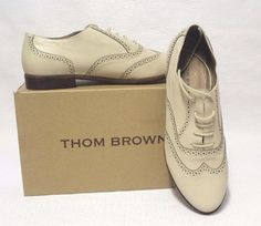 Thom Brown Women's Lace Up Perforated Leather Casual Oxfords Cream Shoes Sz 39 #ThomBrown #Oxfords