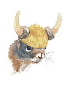 Squirrel Watercolor  Original Painting Viking by WaterInMyPaint, $40.00