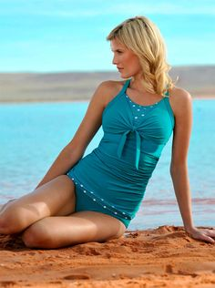 Love a modest swim suit with polka dots!