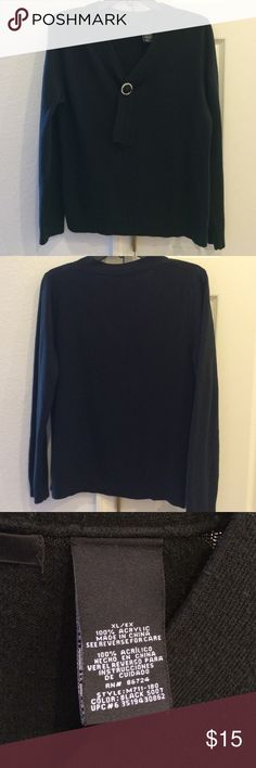 Black Sweater with Bling This XL sweater will set off a beautiful pattern skirt or Slacks. It's made of 100% acrylic, yet misuse comfortable. The rhinestone ring is removable and can be replaced with any other as you choose. Sweaters V-Necks