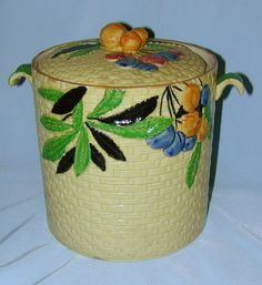 Hand Paint Japanese Majolica Cookie Jar Fruit on Basket Weave Pattern By the Hotta Yu Shoten