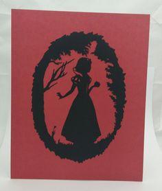 """Princess Snow White Inspired Cut Paper Silhouette Portrait 8"""" x 10"""" Cut Out Art Portraits"""