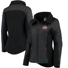 Ohio State Buckeyes Scarlet & Grey Women's Home Team Mixed Material Jacket - Black