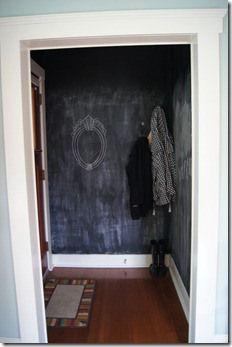 chalkboard painted entryway