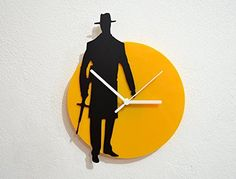 Mafia - Black & Yellow Silhouette - Wall Clock. SPECIFICATIONS❂ Made of two layers of acrylic (Black matt & Yellow gloss), this clock creates a strong contrast that is easy to fit on any wall. ❂ My clock mechanisms are EZ Quartz® Sweep (Non Ticking - Silent) and RoHS Approved! ❂ Requires 1 AA battery (not included).