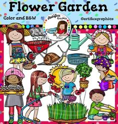 Flower Garden Clip Art set2. Color and B&WThis set is available to purchase as part of the   Gardening clip art BundleFlower Garden Clip Art2 set features 26 items: 13 clip arts in color. 13 clip arts in black & white.All images are 300 dpi, Png files.Boy planting flowers, boy with a watering can, girl holding a flowerpot, girl watering1, girl watering2, girl with basket of flowers, Girl with flowerpot, rain cloud, snail, sunshine, water hose, watering can, wheelbarrow.This clipart li...