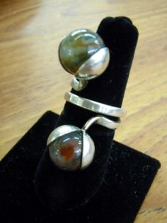 Kupittaan Kulta Ring from Finland, early 1970's, Sterling and Moss Agate.