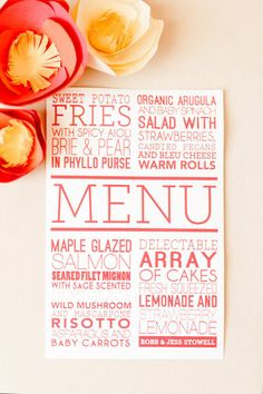 menus that pop by http://www.kidlark.com/ Photography by Ashlee Raubach / ashleeraubach.com, Wedding Planning and Design by Nicole Davis Design / meohmy.blogspot.com