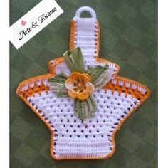 handmade yellow crochet potholders
