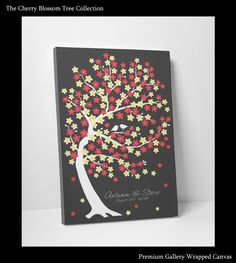 Guest Book Tree Wedding Guestbook Purple Sakura Tree -16x20- 150 Guest Sign In - On Gallery Wrapped Canvas - Ready to Hang on Your Wall on Etsy, $64.00
