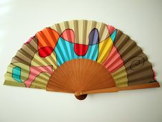 Hand fan Handpainted Silk- Abanico- Wedding gift- Giveaways- Bridesmaids- Spanish hand fan - 17 x 9 inches cm x 23 cm) Painted Fan, Hand Painted, Watercolor Bookmarks, Silk Painting, Hand Fan, Leather Case, Quilt Patterns, Wedding Gifts, Diy And Crafts