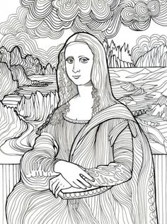 Mona Lisa coloring page Art And Illustration, Colouring Pages, Coloring Books, Art Worksheets, Famous Art, Sgraffito, Art Plastique, Elementary Art, Teaching Art