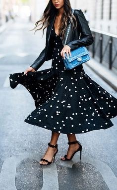 White and black polka dot dress, with black leather jacket and black strappy heels. Outfit of the Day: 10 March 2016.