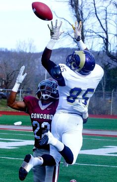 West Chester wide receiver Erick Brundidge leaps up to catch a pass in a Division II playoff game against Concord on Nov. 29, 2014. (RoadTripSports photo by Kendall Webb)