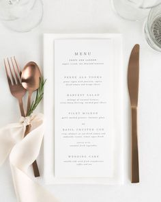 Wedding Menu - how I want it to look. Food? Undecided