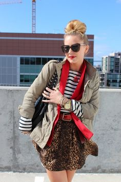red, stripes, and leopard  loooove this color and pattern combo!