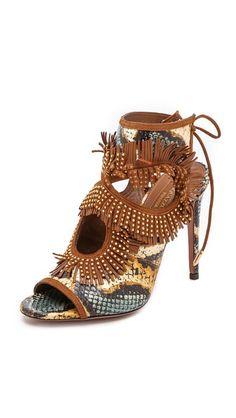Aquazzura Sexy Fringe Snakeskin Sandals