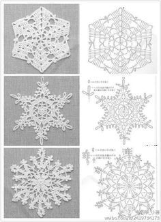 Crochet snowflakes with charts: Appliques Au Crochet, Crochet Motifs, Crochet Diagram, Thread Crochet, Filet Crochet, Crochet Patterns, Crochet Doilies, Crochet Designs, Knitting Patterns