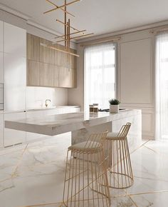 Light and bright neutral kitchen