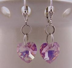 Lavender Swarovski Heart  Earrings  Gift Idea  by kitscreations