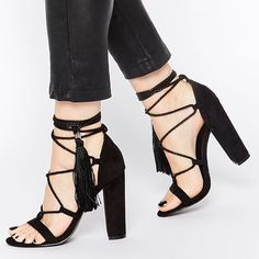 Missguided Rope Detail Tassle Heeled Sandal