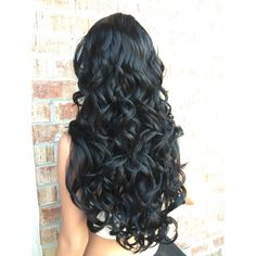 """Jet Black Volume Curls Human Hair Blend Lace Wig 24"""" Hot Rollers ($135) ❤ liked on Polyvore featuring beauty products, haircare, hair styling tools, hair and curly hair care"""