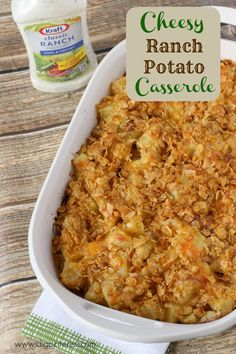 Cheesy Ranch Potato Casserole: A Salad Dressing Recipe to Rock Your World! A totally family-pleasing meal! Veggie Side Dishes, Side Dishes Easy, Side Dish Recipes, Dinner Recipes, Dressing Recipe, Salad Dressing, Potato Casserole, Casserole Recipes, Vegetable Recipes