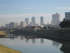 Downtown Fort Worth, seen from the trinity river in Trinity Park during the 2012 St. Jude walk.