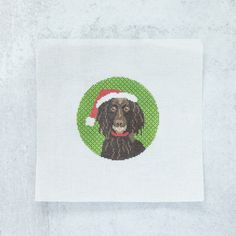 #Boykin Spaniel Christmas ornament canvas featuring your favorite breed of dog! #Stitch this fun #BoykinSpaniel #Christmas #ornament #canvas.  Your order will include the #needlepoint design printed on high-quality #Zweigart mono deluxe canvas. We will also send you a printed color aid and #stitch guides for your canvas to help with your #stitching   ❤️❤️❤️🙌 A percentage of the proceeds of this ornament canvas will go to the Boykin Spaniel Rescue, Inc. Needlepoint Designs, Needlepoint Kits, Needlepoint Canvases, Boykin Spaniel, Holiday Tree, Dog Friends, Canvas Size, Stitching, Costura