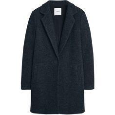 Mango Wool Coat, Dark Grey ($120) ❤ liked on Polyvore featuring outerwear, coats, jackets, long sleeve coat, mango coat, short coat, woolen coat and short wool coat