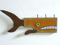 Whimsical found object wood fish art Orange by SwimminwitdaFishes, $55.00