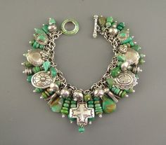 Vintage Navajo Green Turquoise Joan Slifka Cross Pendant Charm Bracelet Necklace