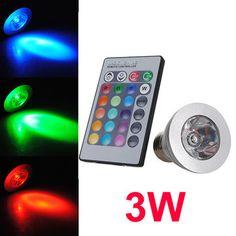 E27 3W Remote Control LED Bulb Light 16 Color Changing 110-220V