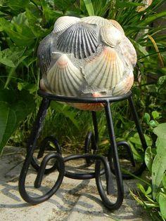 gardening ideas mosaics recycled materials, gardening, repurposing upcycling, Mini Gazing Ball with Seashells