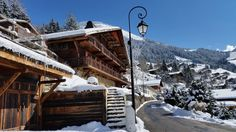 Photograph gallery of the luxury ski chalet, La Grange au Merle, by Clarian Chalets. Includes views over the charming ski resort village of Chatel. Alpine Chalet, Ski Chalet, Skiing, Cabin, Luxury, House Styles, Gallery, Home, Chalets
