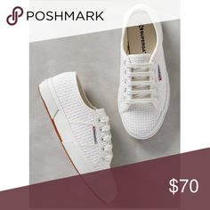 Superga | Crochet Lace Classic Sneakers Super cute Superga Lace Crochet Sneakers NIB originally purchased from Anthropologie last fall. Fabric upper, fabric lining, rubber sole. Round toe; lace up; crochet. Best for a size 10.5, this brand is common to size a half down. Anthropologie Shoes Sneakers