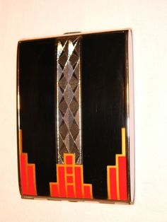 Rare Elgin American Classic Art Deco Black, Red, Gold Enamel Cigarette Case