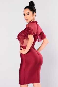 c4f8728bfba Luluka Womens Sexy Lace Patchwork Bodycon Bandage Party Midi Club Dress US  Large Red  gt