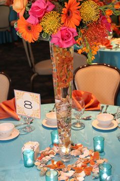 CMP Wedding Design: Lupines, Gerbera Daisy, Rose - Bright orange and pinks! Learn more about our creative design services: 508-999-1120.
