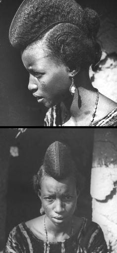 "Africa | ""Type de femme peuhl de Garoua"".  Cameroun, Afrique équatoriale française.  ca. 1923  1933 | ©Henri Lhote // PV0068320 and PV0068319"