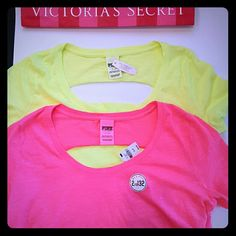 New! PINK open back 2 shirt bundle! 2 shirts New with tags size small Long length Loose fit PINK Victoria's Secret Tops