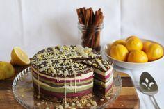 Leite da Terra: layered ice cream cake with chocolate, vanilla & p...
