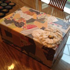 My Keep sake box made from mod podge and scrap book paper.
