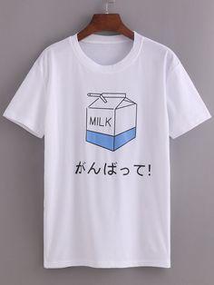 Negozio T-shirt bianco con stampa latte on-line. SheIn offre T-shirt bianco con stampa latte & di più per soddisfare le vostre esigenze di moda.