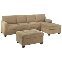 Amazon.com: Bobkona Vestor 3-Piece Reversible Sectional with Ottoman Sofa Set, Khaki: Home & Kitchen