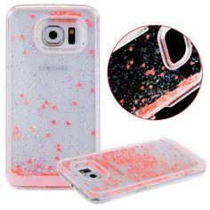 Amazon.com: S6 Edge Case,S6 Edge Liquid Case,UZZO 3D Hard Shell Liquid Glitter Sparkle Stars Hard Case Cover for Samsung Galaxy S6 Edge (Pink): Cell Phones & Accessories
