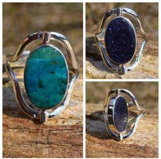 Twee ringen in een. Zilveren ring met een peruaanse turquoise en een metallic steen. Uniek geschenk