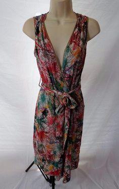 ZAC POSEN Couture Italian Splash Paint Sleeveless Wrap Style Dress S #ZacPosen #WrapDress