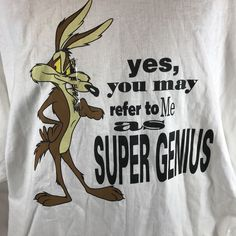 a4610118 Looney Tunes · Vintage Wile E Coyote Super Genius T-Shirt Acme Clothing  Warner Bros Store XXL 1991